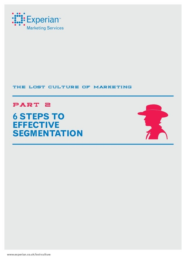 THE LOST CULTURE OF MARKETING  PART  2  6 STEPS TO  EFFECTIVE SEGMENTATION  www.experian.co.uk/lost-culture