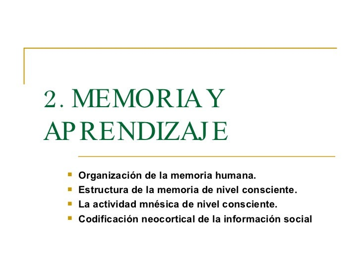 <ul><li>Organización de la memoria humana.  </li></ul><ul><li>Estructura de la memoria de nivel consciente.  </li></ul><ul...