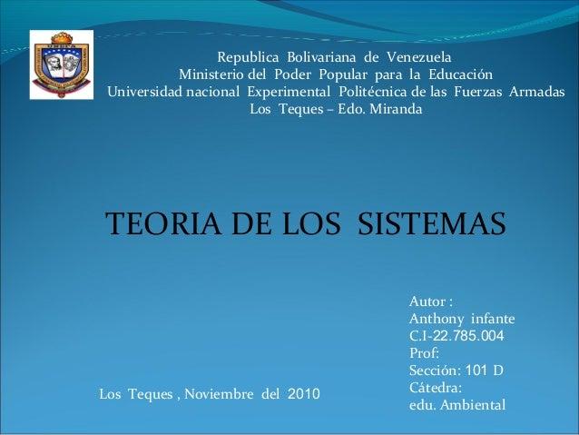 Republica Bolivariana de Venezuela Ministerio del Poder Popular para la Educación Universidad nacional Experimental Polité...