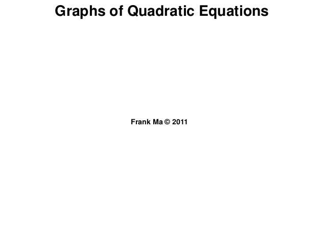 Graphs of Quadratic EquationsFrank Ma © 2011
