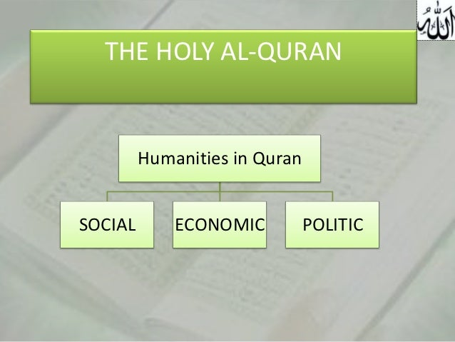 THE HOLY AL-QURAN         Humanities in QuranSOCIAL       ECONOMIC          POLITIC