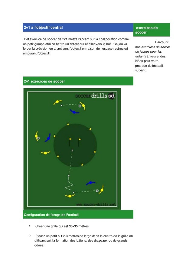 2v1 à l'objectif central Cet exercice de soccer de 2v1 mettra l'accent sur la collaboration comme un petit groupe afin de ...