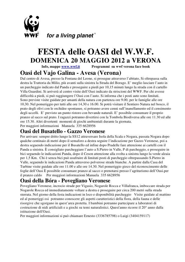 FESTA delle OASI del W.W.F.       DOMENICA 20 MAGGIO 2012 a VERONA              Info, mappe www.wwf.it              Progra...