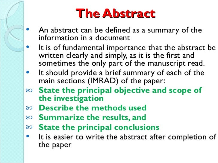 how to write an abstract of a research paper How to write an effective research paper • getting ready with data abstract first couple of sentences should focus on what the study is about include.