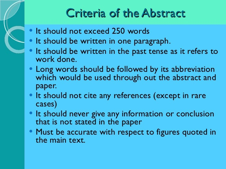 What should an abstract include for a research paper