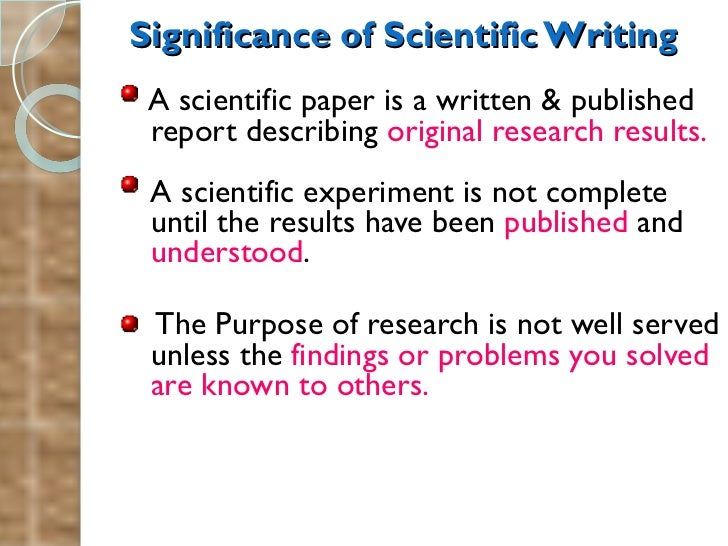 Parts of a scientific research paper