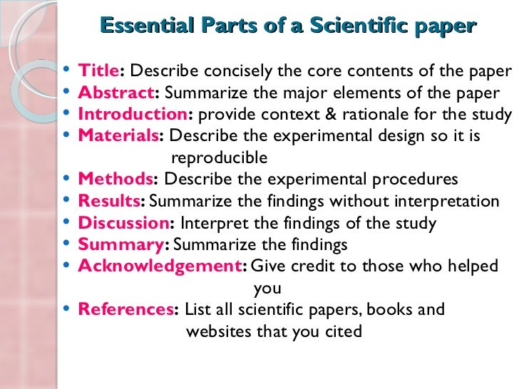 components to a research paper Parts of a research paper: research paper assignments are very typical assignments for all grade levels and for all courses that a student may take in.