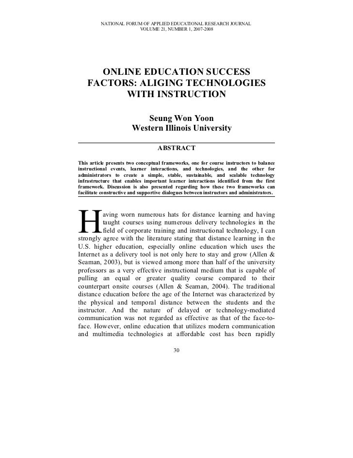 NATIONAL FORUM OF APPLIED EDUCATIONAL RESEARCH JOURNAL                       VOLUME 21, NUMBER 1, 2007-2008      ONLINE ED...