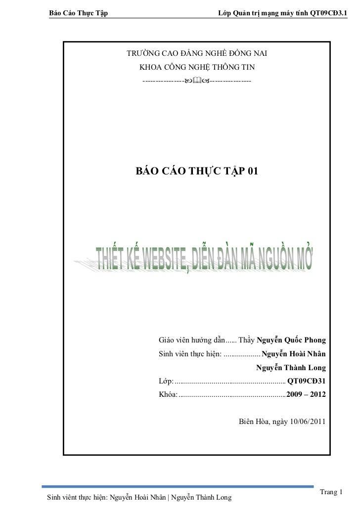 Báo Cáo Thực Tập                                            Lớp Quản trị mạng máy tính QT09CĐ3.1                         T...