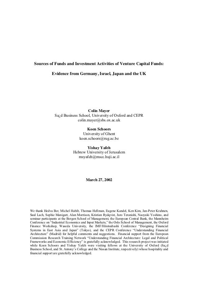 Sources of Funds and Investment Activities of Venture Capital Funds:                Evidence from Germany, Israel, Japan a...