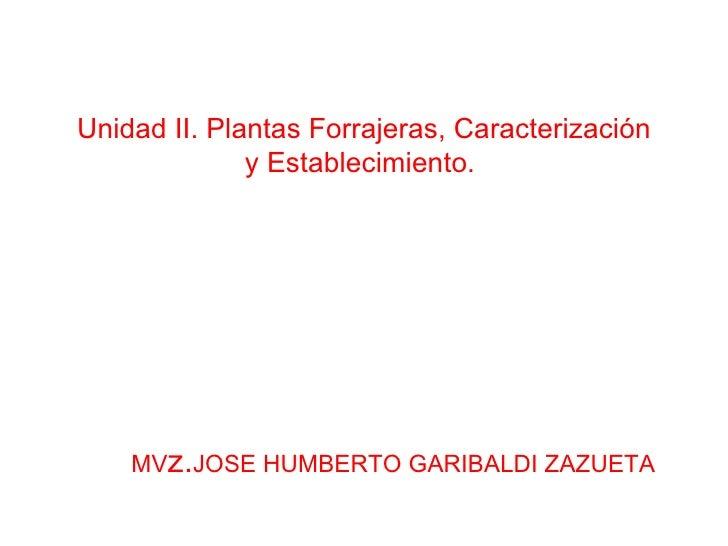 Unidad II. Plantas Forrajeras, Caracterización y Establecimiento.  MV z. JOSE HUMBERTO GARIBALDI ZAZUETA