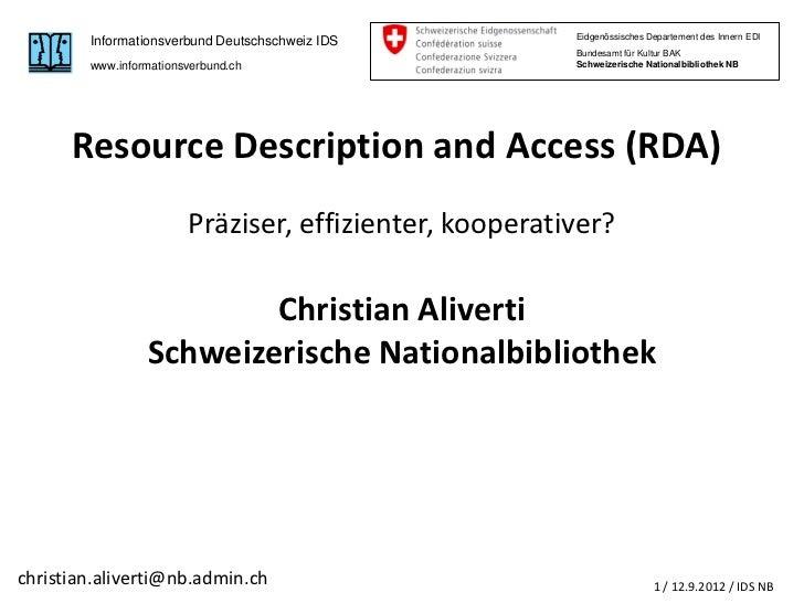 Christian Aliverti: Resource Description and Access - RDA