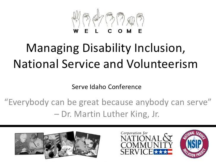 3.10.2011 Managing Disability Inclusion, Serve Idaho