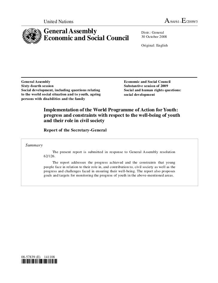 United Nations                                                                     A/64/61–E/2009/3              General A...
