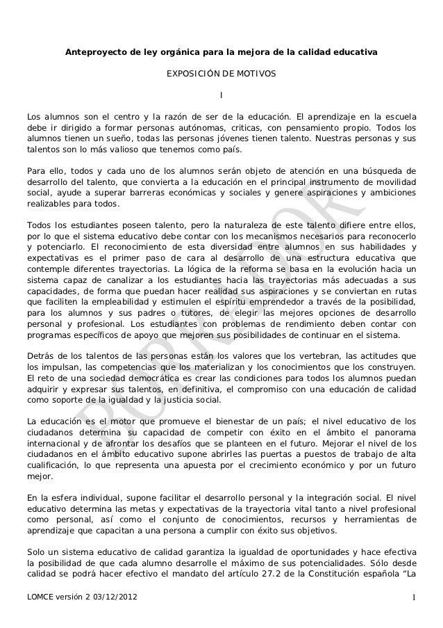 Anteproyecto de ley orgánica para la mejora de la calidad educativa                                   EXPOSICIÓN DE MOTIVO...