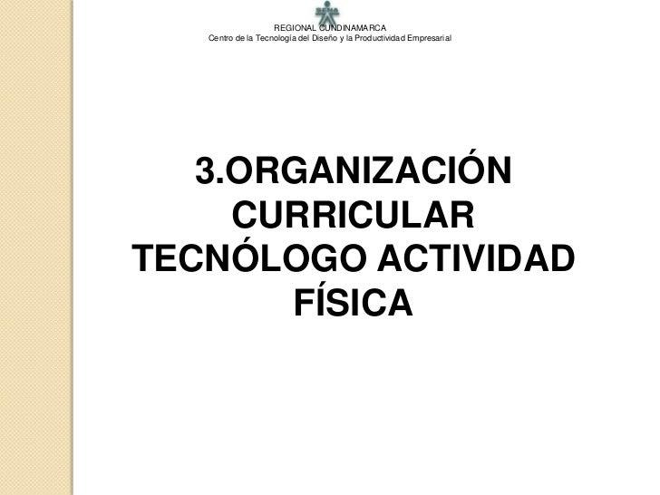 3.ORGANIZACION CURRICULAR TECNOLOGO ACTIVIDAD FISICA