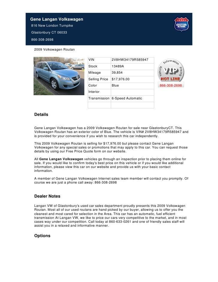 Used 2009 Volkswagen Routan For Sale Near New Britain CT