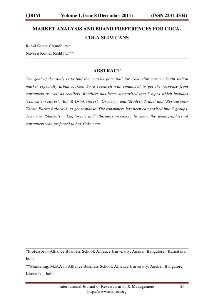 IJRIM              Volume 1, Issue 8 (December 2011)                  (ISSN 2231-4334)   MARKET ANALYSIS AND BRAND PREFERE...