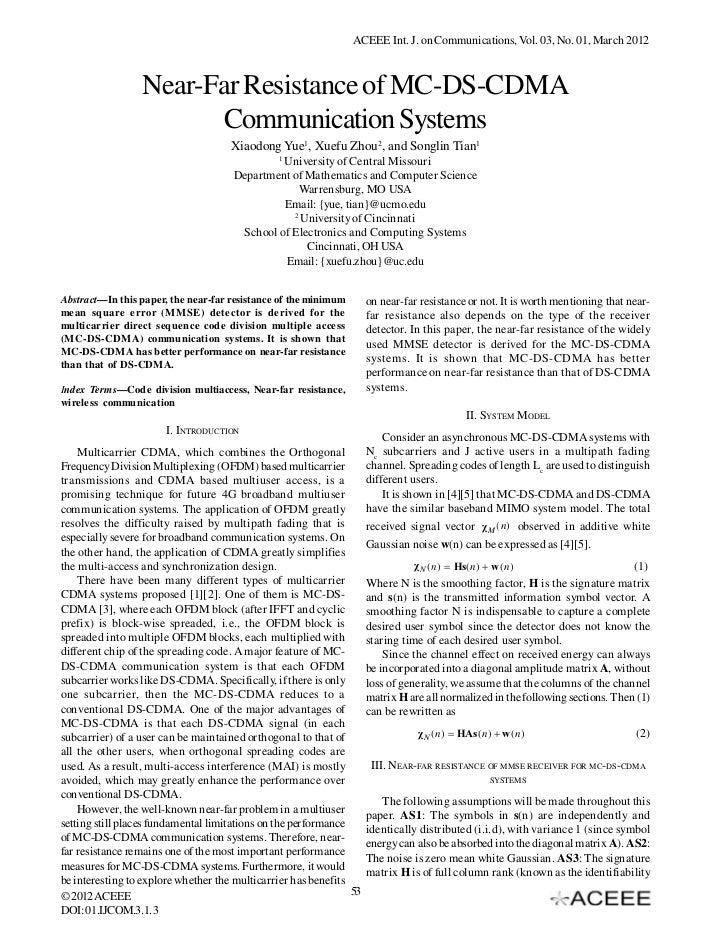 Near-Far Resistance of MC-DS-CDMA Communication Systems