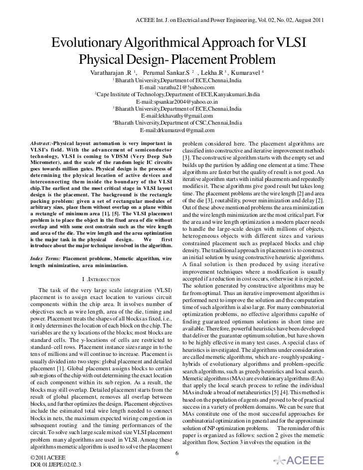 Evolutionary Algorithmical Approach for VLSI Physical Design- Placement Problem