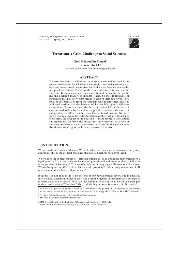 Journal of Management and Social Sciences Vol. 3, No. 1, (Spring 2007) 56-62                    Terrorism: A Grim Challeng...