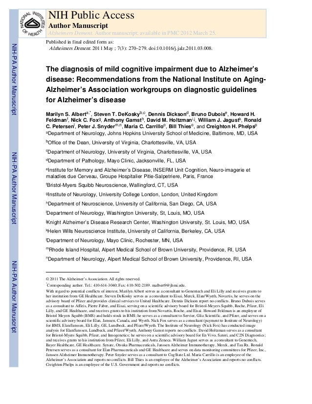 The diagnosis of mild cognitive impairment due to Alzheimer's disease: