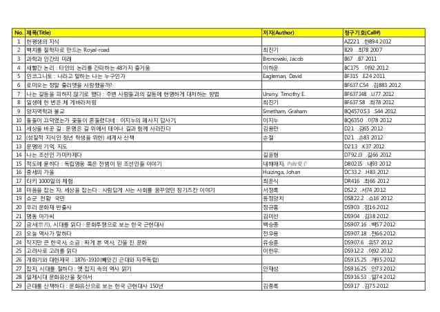 청암학술정보관 2013년 3월 신착자료