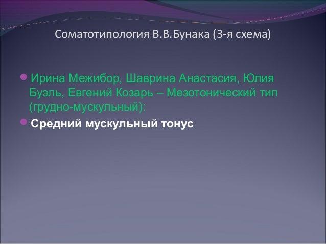 Соматотипология В.В.Бунака