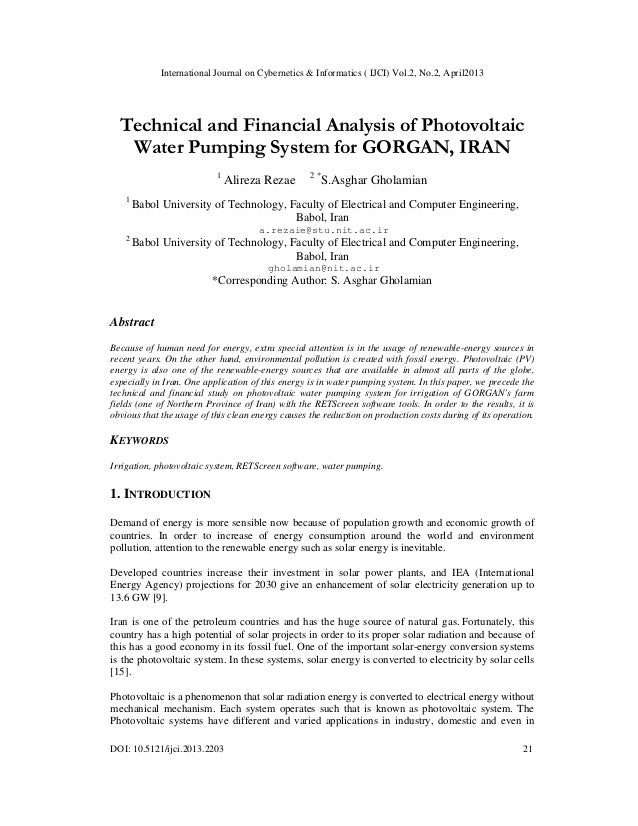 Technical and Financial Analysis of Photovoltaic Water Pumping System for GORGAN, IRAN