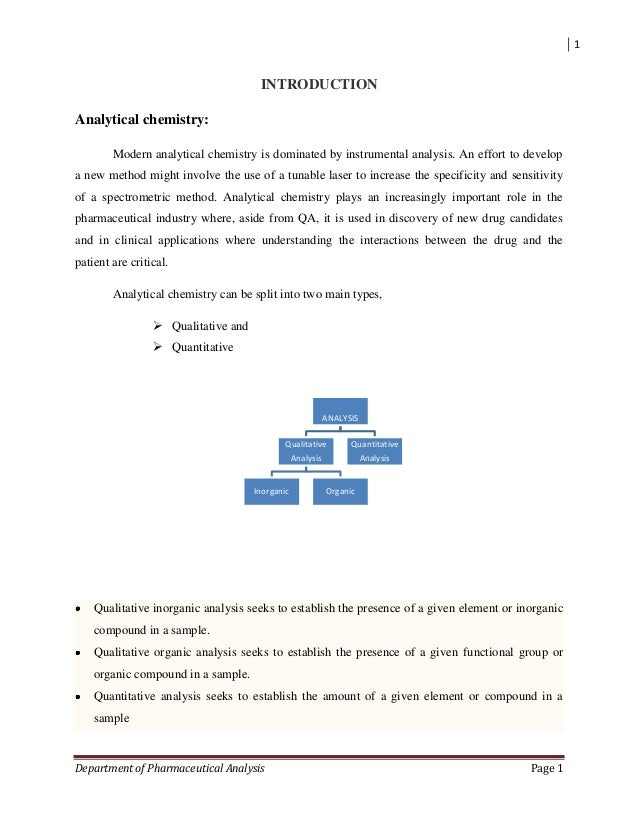 1 Department of Pharmaceutical Analysis Page 1 INTRODUCTION Analytical chemistry: Modern analytical chemistry is dominated...