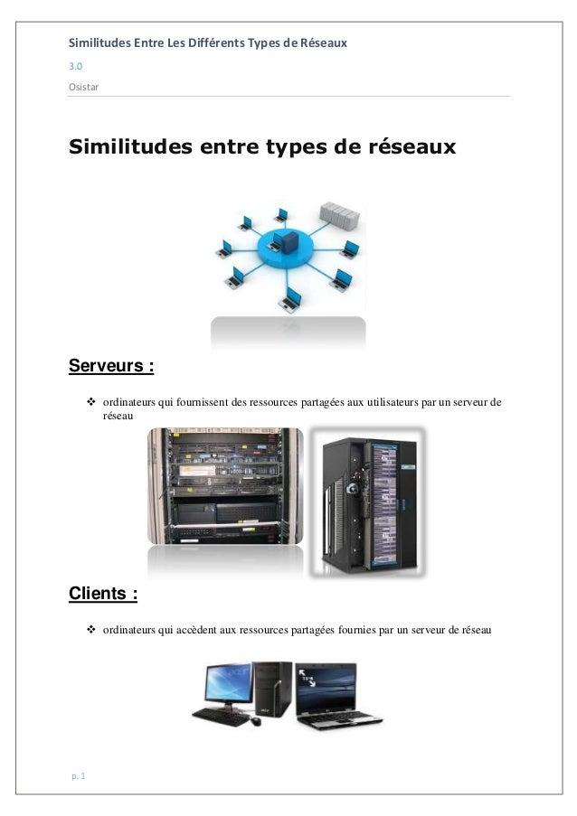Similitudes Entre Les Différents Types de Réseaux 3.0 Osistar p. 1 Similitudes entre types de réseaux Serveurs :  ordinat...