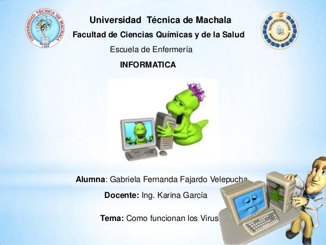 Universidad Técnica de Machala Facultad de Ciencias Químicas y de la Salud Escuela de Enfermería INFORMATICA Alumna: Gabri...