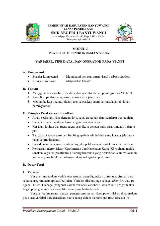 Praktikum Pemrograman Visual – Modul 3 Hal. 1 PEMERINTAH KABUPATEN BANYUWANGI DINAS PENDIDIKAN SMK NEGERI 1 BANYUWANGI Jal...