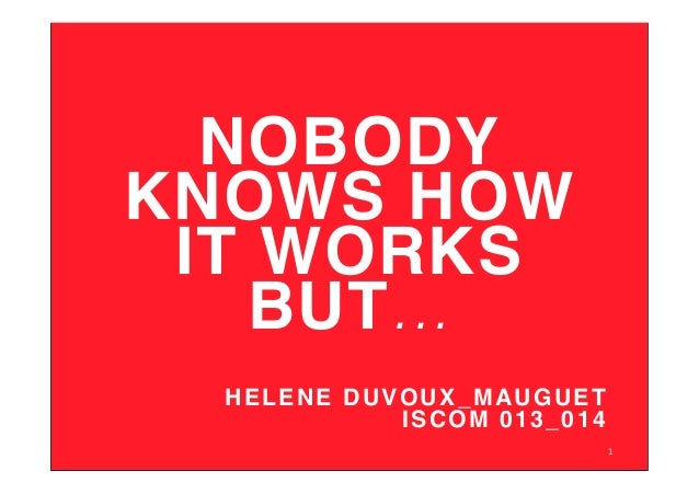 NOBODY KNOWS HOW IT WORKS BUT... ! HELENE DUVOUX_MAUGUET ! ISCOM 013_014! 1