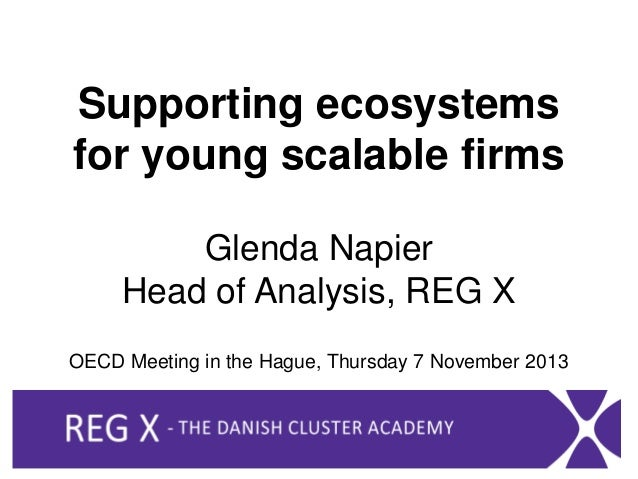 Supporting ecosystems for young scalable firms Glenda Napier Head of Analysis, REG X OECD Meeting in the Hague, Thursday 7...
