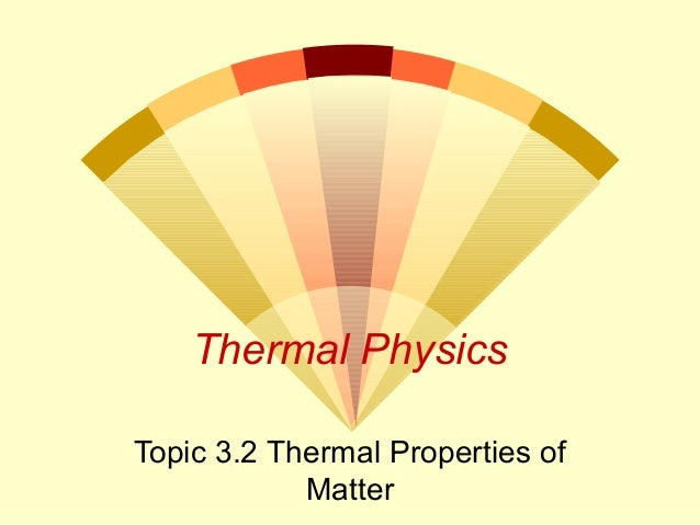 Thermal Physics Topic 3.2 Thermal Properties of Matter