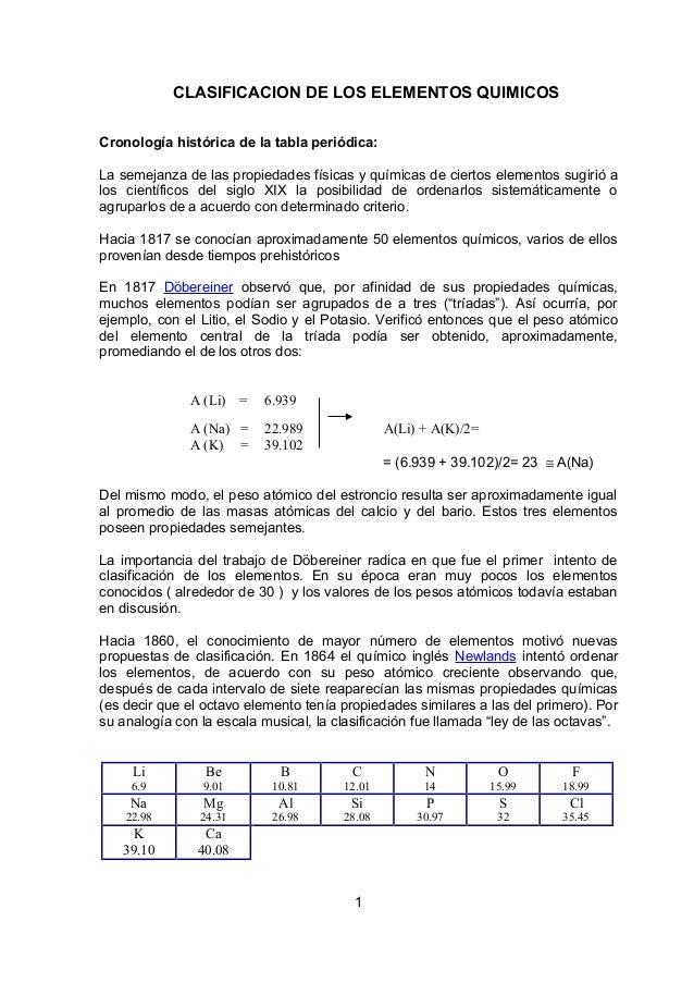 CLASIFICACION DE LOS ELEMENTOS QUIMICOS Cronología histórica de la tabla periódica: La semejanza de las propiedades física...