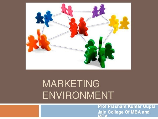 MARKETING ENVIRONMENT Prof Prashant Kumar Gupta Jain College Of MBA and MCA