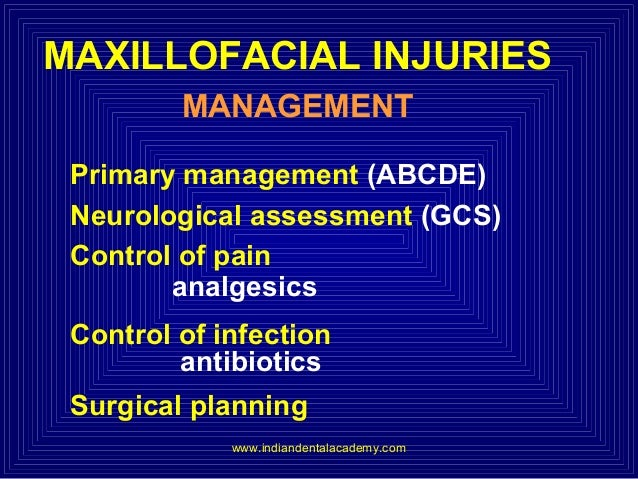 MAXILLOFACIAL INJURIES MANAGEMENT Primary management (ABCDE) Neurological assessment (GCS) Control of pain analgesics Cont...