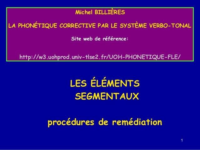Michel BILLIÈRES LA PHONÉTIQUE CORRECTIVE PAR LE SYSTÈME VERBO-TONAL Site web de référence:  http://w3.uohprod.univ-tlse2....