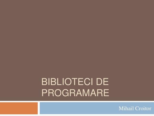 3. biblioteci de programare
