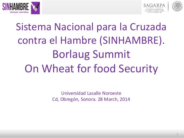 1 Sistema Nacional para la Cruzada contra el Hambre (SINHAMBRE). Borlaug Summit On Wheat for food Security Universidad Las...