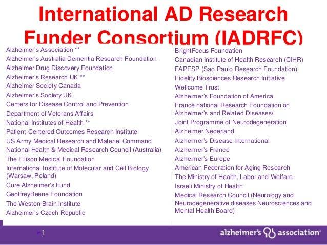 1 International AD Research Funder Consortium (IADRFC) Focus: • On information/ data sharing • Develop framework of partn...