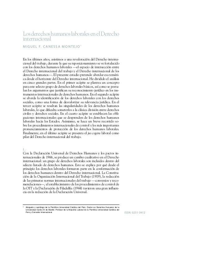 Los derechos humanos laborales en el Derecho  internacional  MIGUE L F. CANE S SA MONT E JO*  En los últimos años, asistim...