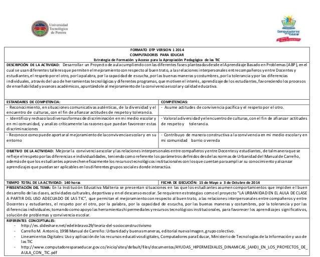 FORMATO DTP VERSION 1 2014  COMPUTADORES PARA EDUCAR  Estrategia de Formación y Acceso para la Apropiación Pedagógica de l...
