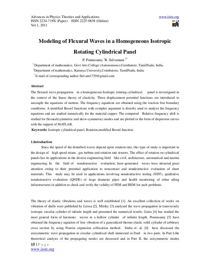 3.[15 25]modeling of flexural waves in a homogeneous isotropic rotating cylindrical panel