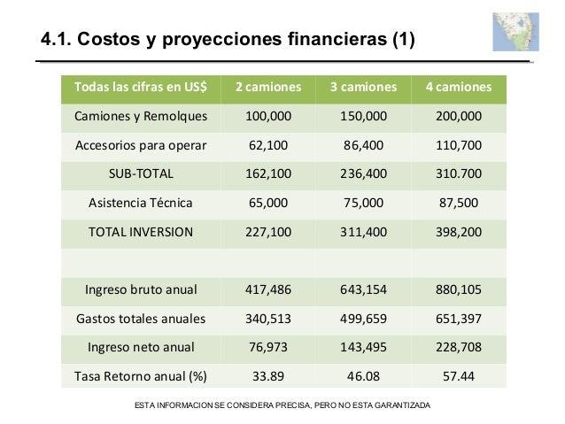 4.1. Costos y proyecciones financieras (1) Todas las cifras en US$ 2 camiones 3 camiones 4 camiones Camiones y Remolques 1...