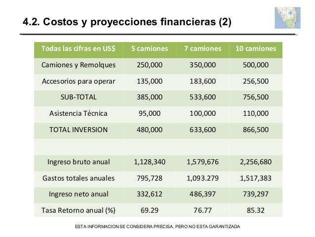4.2. Costos y proyecciones financieras (2) Todas las cifras en US$ 5 camiones 7 camiones 10 camiones Camiones y Remolques ...