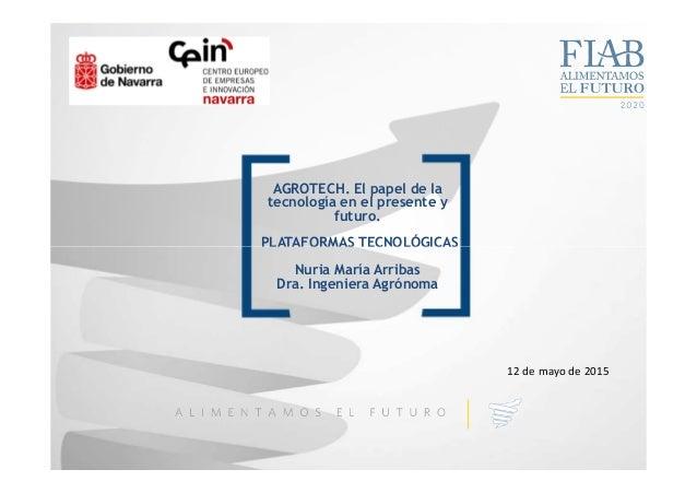 AGROTECH. El papel de la tecnología en el presente y futuro. PLATAFORMAS TECNOLÓGICASPLATAFORMAS TECNOLÓGICAS Nuria María ...