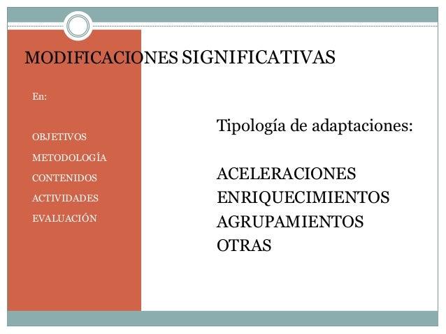 MODIFICACIONES SIGNIFICATIVAS En: OBJETIVOS METODOLOGÍA CONTENIDOS ACTIVIDADES EVALUACIÓN Tipología de adaptaciones: ACELE...